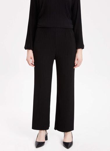 DeFacto Çizgili Pantolon Siyah